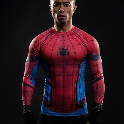 Spiderman Sports Long Sleeve Men Tops Compression Gym Fitness Running 3D T-shirt