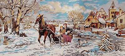 Large Completed Needlepoint Canvas.Snow Scene  'Le Traineau' (5120s)