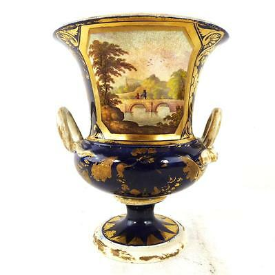 C1800-25 ANTIQUE DERBY PORCELAIN CAMPANA VASE ON THE RIVER DERWENT e