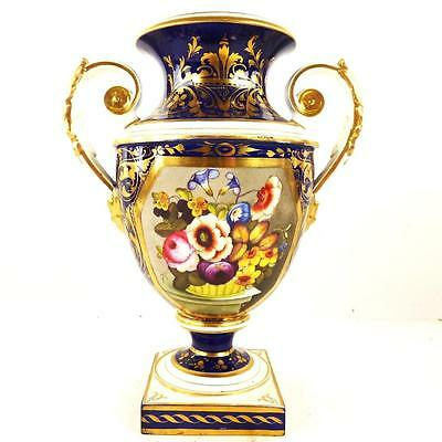C1825 ANTIQUE BLOOR DERBY PORCELAIN TWIN HANDLED VASE BASKET OF FLOWERS a