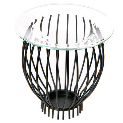 Metal Cage Design Home Fragrance Aromatherapy Scented Glass Dish Oil BurnerOB225