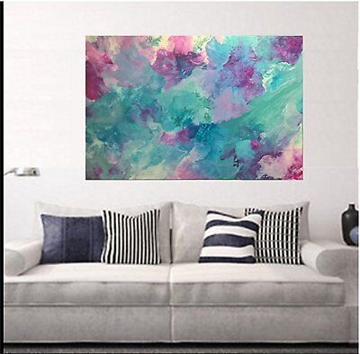 Classy Modern Teal pink Mint Green  Hand Painted Abstract Canvas Painting Art