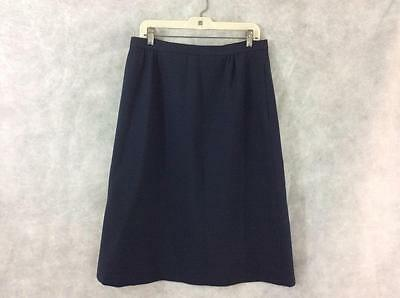 vintage 1970s skirt polyester navy lined womens size 18 14