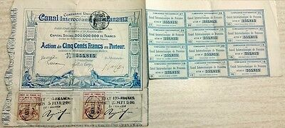 Panama Panamian 1880 Canal Interoceanique 500 Francs Coupons UNC Bond Loan Share