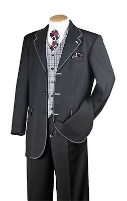 New Men's Fashion Suit Single Breasted 3 Buttons Pleated Front 2916V