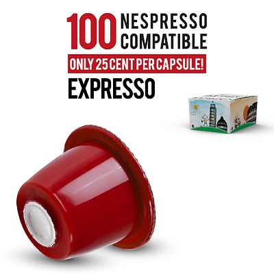 100 Nespresso compatible Expresso Capsules by Italian Coffee ONLY 0.25/capsule!