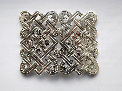 Antique Victorian Silver Nurses Celtic Knot Style Belt Buckle - Birmingham 1897