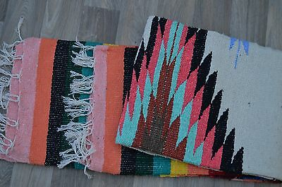 """Mexican Blanket Tribal Diamond in """"Coral Bay"""" PREMIUM XL 80x48 Handwoven Throw"""