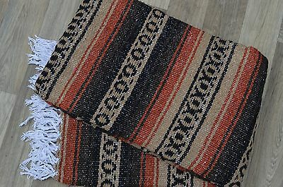 Mexican Blanket Handwoven Tan Rust Falsa HEAVYWEIGHT Yoga Throw 72X48 PREMIUM