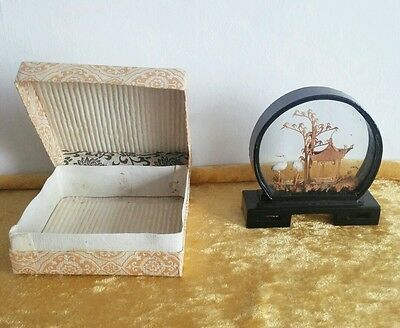 Japanese / Chinese cork picture  in glass & wood case