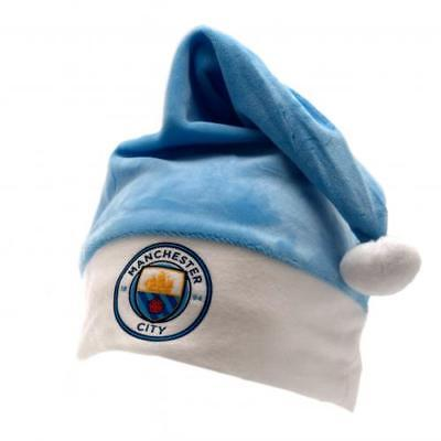 Official Manchester City F.C. Supersoft Santa Hat Xmas Football Gift