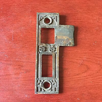 F. C. Linde Antique Mortise Lock Victorian Bronze Strike Plate-3 Inch Reversible