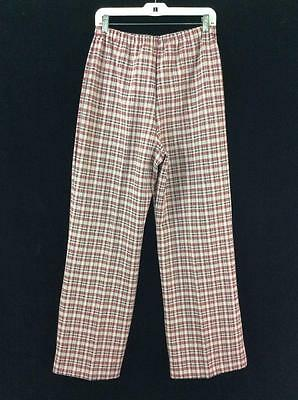 vintage 70s pants womens size 16 12 pink navy plaid elastic waist polyester