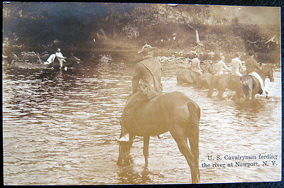 NEWPORT NY ~ 1900's U.S. CAVALRYMENT FORDING THE RIVER ON HORSES ~ RPPC
