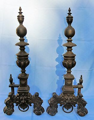 """Brass Andirons Pair 35"""" Tall with Lion Heads English 19th Century - Manor House"""