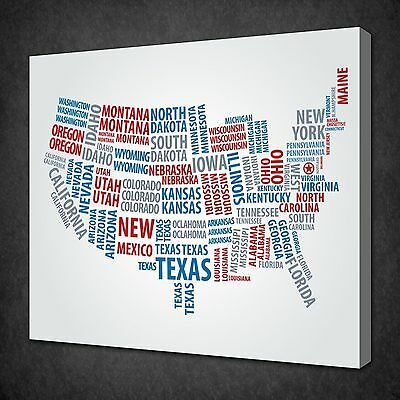 USA 4 SECTION Canvas Wall Art Cork Board Travel Map Red Push Pins ...