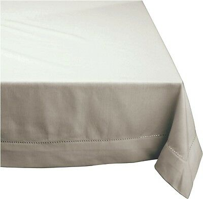 HEMSTITCH Table Cloth 100% Cotton GREY 5 Sizes RECTANGLE and ROUND