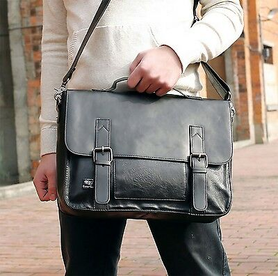 Vintage Leather Briefcase Messenger Bag Laptop Shoulder Men Satchel School Bags