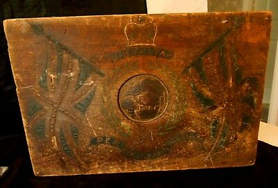 Rare Antique Royal Marines Gibraltar Naval Carved Wooden Ditty Box/Sea Chest