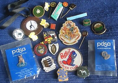 Collection mixed job lot x25 vintage assorted metal enamel pin BADGES