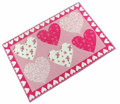 Kids Girls Love Hearts Patchwork Pink Thick Anti Slip Bedroom Rug Mat 60 X 90Cm