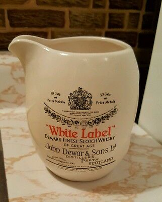 """Collectible Water Pitcher John Dewar & Sons Distillers """"White Label"""" 6"""" Tall"""