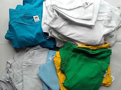 Job Lot Plain Fruit of the Loom T-shirts Childrens (NEW) Mixed Sizes & Colours