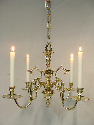 Unique Antique German Brass Bronze 4 arm Chandelier 18th.C. for Candles (6971)