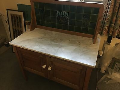 Oak and Marble Ars & Crafts wash stand antique Edwardian