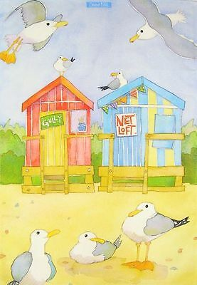 Beach Huts Tea Towel - seagulls, seaside, Emma Ball