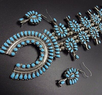 Vintage NAVAJO Sterling Turquoise Cluster SQUASH BLOSSOM Necklace & Earrings SET