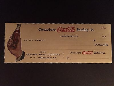 "1930's Coca-Cola, ""Un-Used"" Bottling Company Check"
