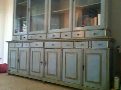 Antique Hungarian Vitrine Aqua and Gold, huge piece  9'x9' Shelves