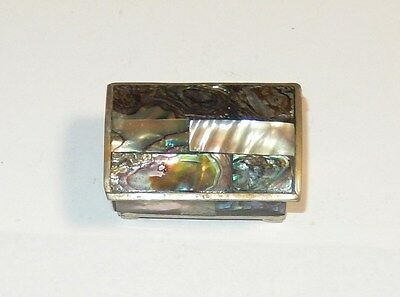 Vintage Alpha Mexico Mother Of Pearl Trinket Box