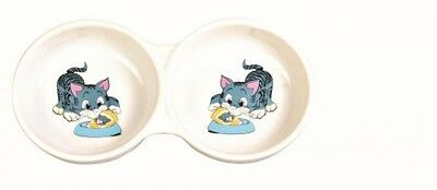 Trixie Double Diner Ceramic Cat Bowl With Print