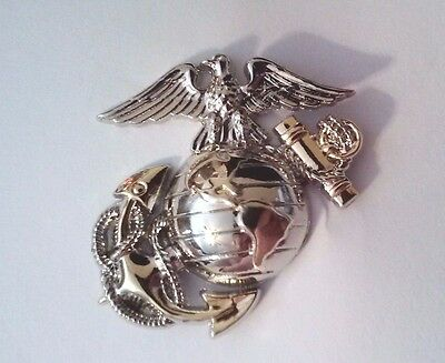"U.S. Marine Corps Globe and Anchor Sliver and Gold Tone Hat Pin 1"" L x 1 3/4""W"