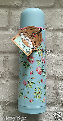 Floral Vintage Shabby Chic Style Drinking Flask Thermos Rose Flower Pink Blue