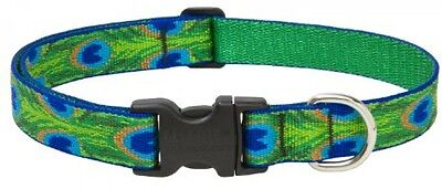 Lupine Tail Feathers Patterned Adjustable Dog Collar For Medium/ Large Dogs, 12