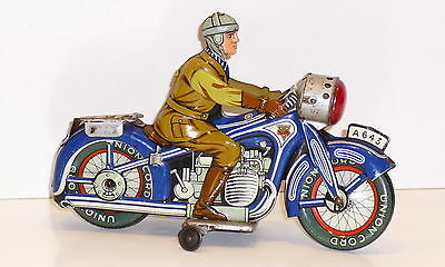 ARNOLD A-643 # 1950's Tinplate Clockwork Motorcycle with rider.