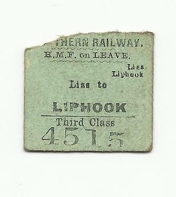 SR ticket, Liss to Liphook, 1952