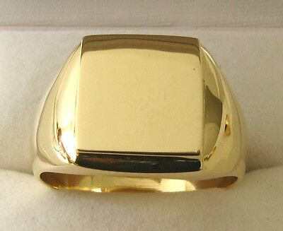 MENS  GENUINE  SOLID  9K  9ct  YELLOW  GOLD  LARGE  HEAVY SHIELD SIGNET RING