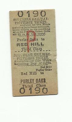 SR ticket, Red Hill to Purley Oaks
