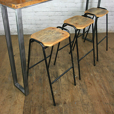 SET OF 3 x VINTAGE RUSTIC RECLAIMED HANDMADE BAR KITCHEN ISLAND STACKING STOOLS