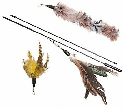 Cat Toy Feather Wand (Includes 3x Feather Refills) - These Natural Feathers Are • EUR 32,63