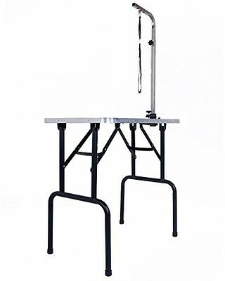 30 Portable Folding Dog Pet Bath Grooming Table Adjustable With Arm Noose Black