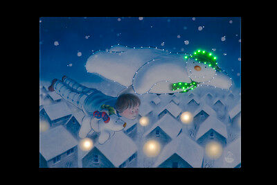 Snowtime Battery Operated Fibre Optic Canvas Snowman & Snowdog Over Roof Tops