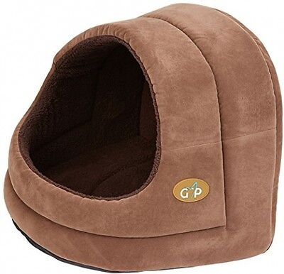 Gor Pets Hooded Luxury Cat Bed Igloo - Large (Brown Suede)