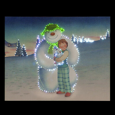 Snowtime Battery Operated Fibre Optic   XMAS Canvas Snowman & Snowdog With Trees
