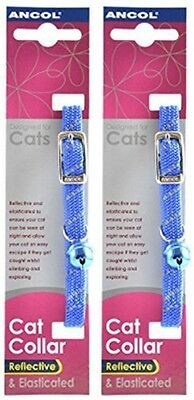 2 Pack Deal - Ancol - Reflective Softweave Cat Collar Blue
