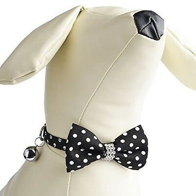 PUPTECK Adjustable Breakaway Polka Dot Pet Cat Collar Accessory With Bow Tie